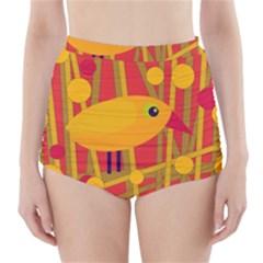 Yellow bird High-Waisted Bikini Bottoms