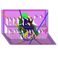 Pink artistic abstraction Happy Birthday 3D Greeting Card (8x4)