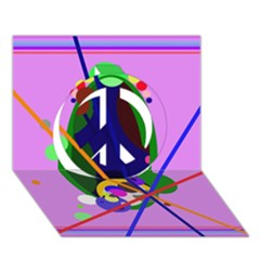 Pink artistic abstraction Peace Sign 3D Greeting Card (7x5)