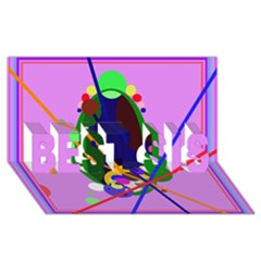 Pink artistic abstraction BEST SIS 3D Greeting Card (8x4)