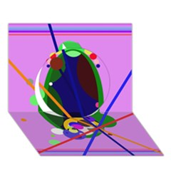 Pink Artistic Abstraction Circle 3d Greeting Card (7x5)