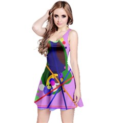 Pink artistic abstraction Reversible Sleeveless Dress