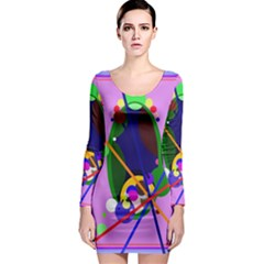 Pink artistic abstraction Long Sleeve Bodycon Dress