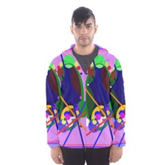 Pink artistic abstraction Hooded Wind Breaker (Men)