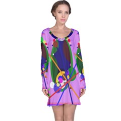 Pink artistic abstraction Long Sleeve Nightdress