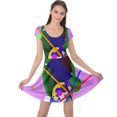Pink artistic abstraction Cap Sleeve Dresses
