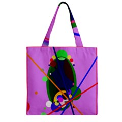 Pink artistic abstraction Zipper Grocery Tote Bag
