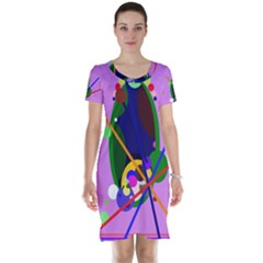 Pink artistic abstraction Short Sleeve Nightdress