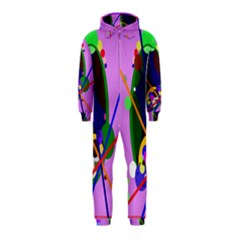 Pink artistic abstraction Hooded Jumpsuit (Kids)