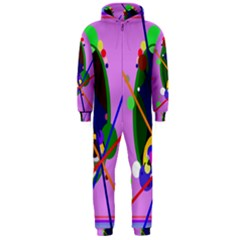 Pink artistic abstraction Hooded Jumpsuit (Men)