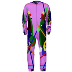 Pink artistic abstraction OnePiece Jumpsuit (Men)