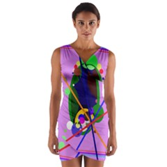 Pink artistic abstraction Wrap Front Bodycon Dress