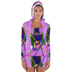 Pink Artistic Abstraction Women s Long Sleeve Hooded T Shirt