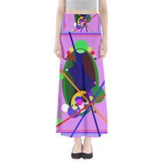 Pink Artistic Abstraction Maxi Skirts