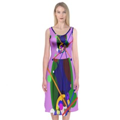 Pink artistic abstraction Midi Sleeveless Dress