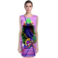 Pink Artistic Abstraction Classic Sleeveless Midi Dress