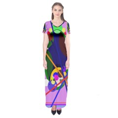 Pink artistic abstraction Short Sleeve Maxi Dress