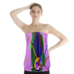 Pink artistic abstraction Strapless Top