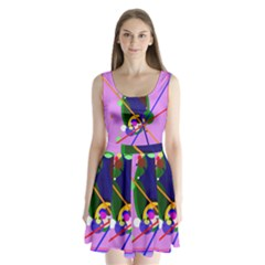 Pink artistic abstraction Split Back Mini Dress