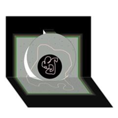 Gray abstract art Circle 3D Greeting Card (7x5)