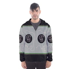 Gray abstract art Hooded Wind Breaker (Men)