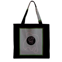 Gray abstract art Zipper Grocery Tote Bag