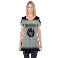 Gray abstract art Short Sleeve Tunic