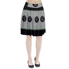 Gray Abstract Art Pleated Skirt
