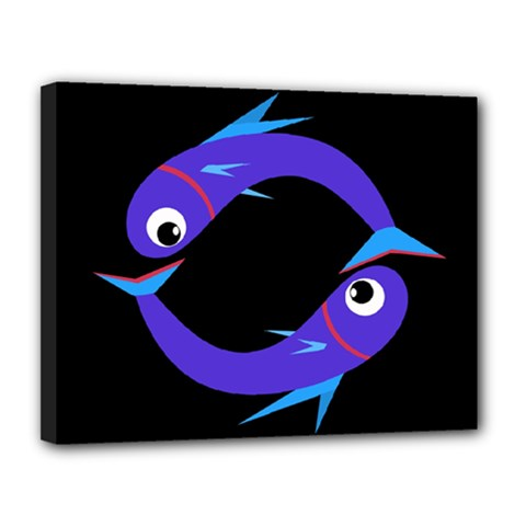 Blue fishes Canvas 14  x 11