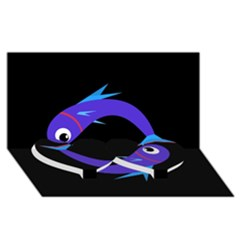 Blue fishes Twin Heart Bottom 3D Greeting Card (8x4)