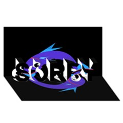 Blue fishes SORRY 3D Greeting Card (8x4)