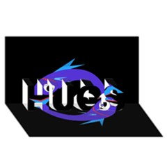 Blue fishes HUGS 3D Greeting Card (8x4)