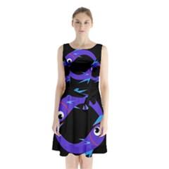 Blue fishes Sleeveless Waist Tie Dress