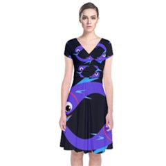 Blue fishes Short Sleeve Front Wrap Dress