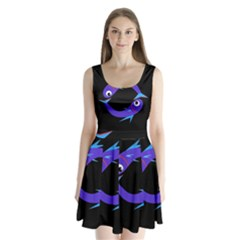 Blue fishes Split Back Mini Dress
