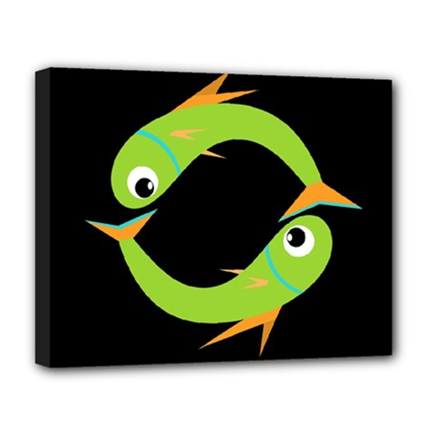 Green fishes Deluxe Canvas 20  x 16