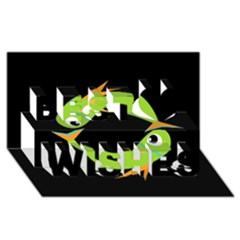 Green fishes Best Wish 3D Greeting Card (8x4)