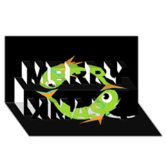 Green fishes Merry Xmas 3D Greeting Card (8x4)