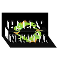 Green fishes Happy New Year 3D Greeting Card (8x4)