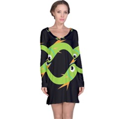 Green fishes Long Sleeve Nightdress