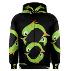 Green fishes Men s Zipper Hoodie