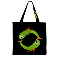Green fishes Zipper Grocery Tote Bag