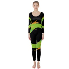 Green fishes Long Sleeve Catsuit