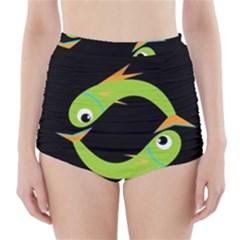 Green fishes High-Waisted Bikini Bottoms