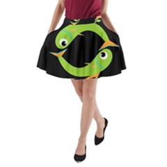Green fishes A-Line Pocket Skirt