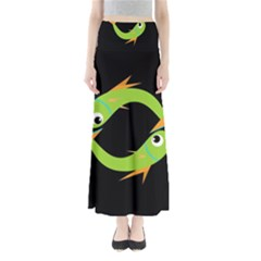 Green Fishes Maxi Skirts