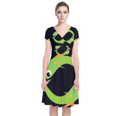 Green fishes Short Sleeve Front Wrap Dress
