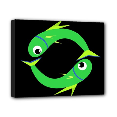 Green fishes Canvas 10  x 8