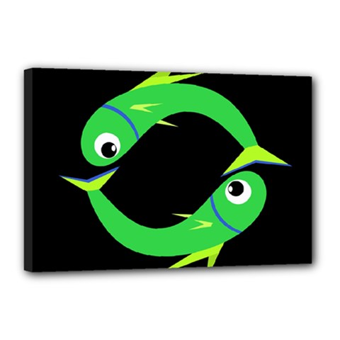 Green fishes Canvas 18  x 12