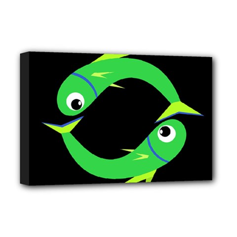 Green fishes Deluxe Canvas 18  x 12